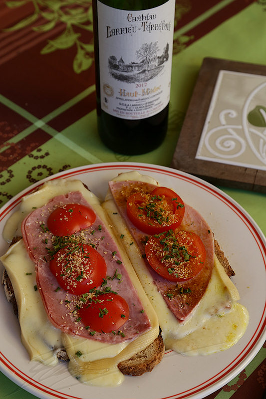 cuisine cooking plat repas nourriture préparation raclette fromage fondu vin rouge red wine château Larrieu-Terrefort french france bordeaux haut-médoc 2012 tomates ail garlic tomatoes bread pain été summer
