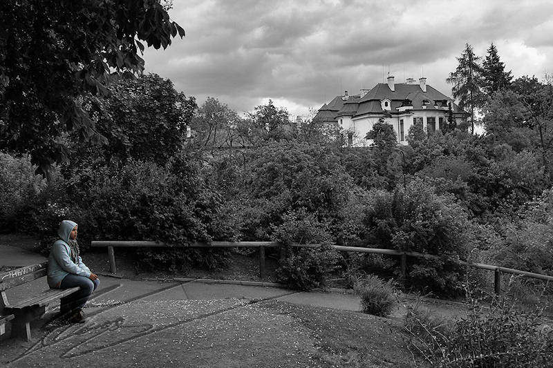 reportage 2014 république tchèque tchéquie czech prague praha cz ville Chotkovy sady château Pražský hrad noir et blanc amande amandine chérie beloved amour love black and white B/W